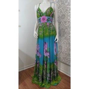 Beaded Floral Floor Length Evening Gown cord strap